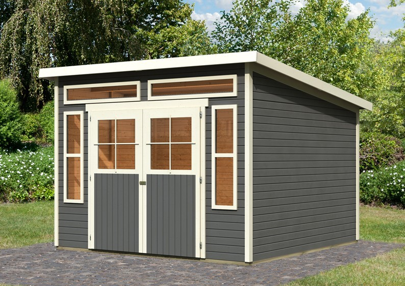 Karibu Holz-Gartenhaus Tinkenau 8 - 19 mm Pultdach Schraub- Stecksystem - terragrau