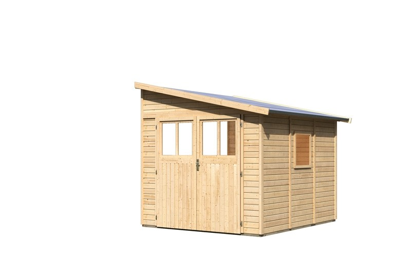 Karibu Holz-Gartenhaus Bomlitz 3 Anlehnhaus - 19 mm Wandstärke( dreiwandig)  - naturbelassen
