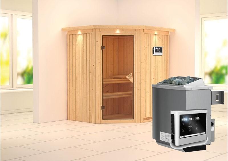 Karibu System Sauna Taurin (Eckeinstieg) 68 mm mit Dachkranz inkl. Ofen 9 kW ext. Steuerung