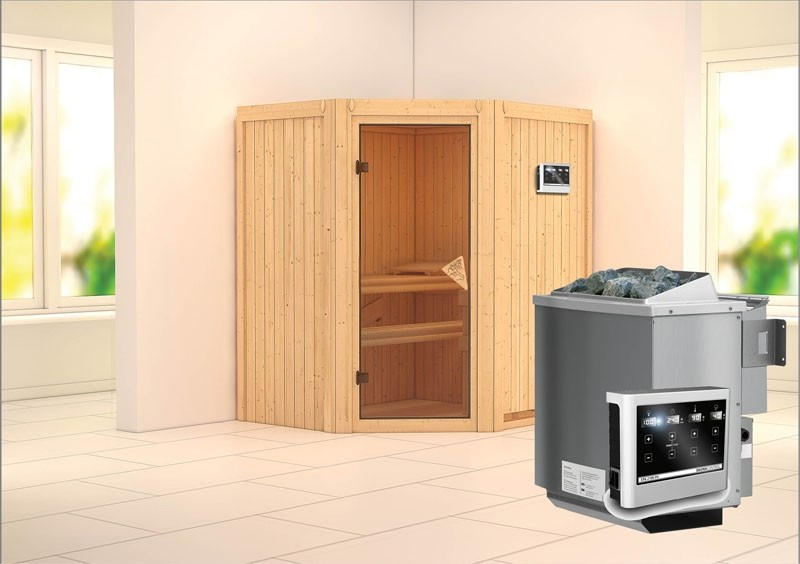 Karibu System Sauna Taurin (Eckeinstieg) 68 mm  inkl. Ofen 9 kW Bio-Kombi ext. Steuerung