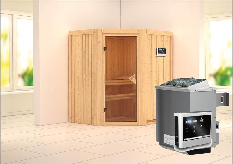 Karibu System Sauna Taurin (Eckeinstieg) 68 mm inkl. Ofen 9 kW ext. Steuerung