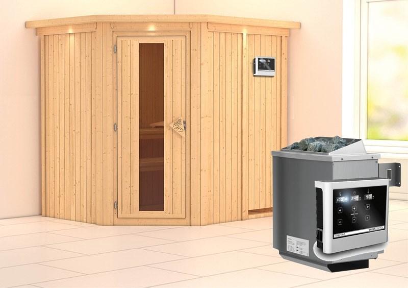Karibu System Sauna Siirin Energiespartür (Eckeinstieg) 68 mm mit Dachkranz inkl. Ofen 9 kW ext. Steuerung