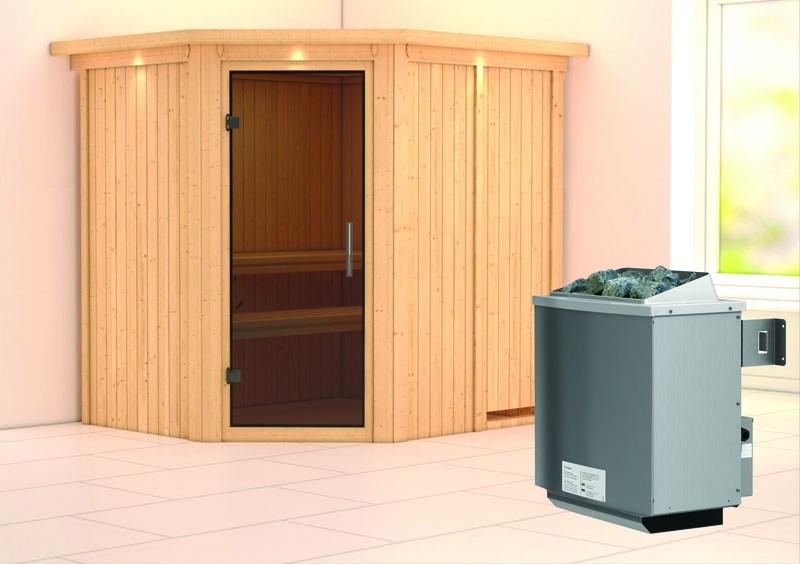 Karibu System Sauna Siirin easy (Eckeinstieg) 68 mm mit Dachkranz mit Glastürinkl. Ofen 9 kW integr. Steuerung