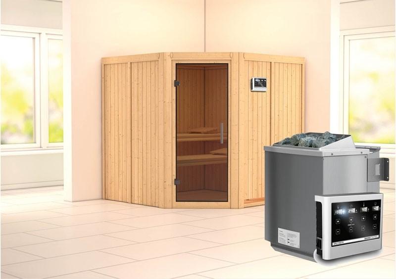 Karibu System Sauna Jarin easy (Eckeinstieg) 68 mm inkl. Ofen 9 kW Bio-Kombi ext. Steuerung