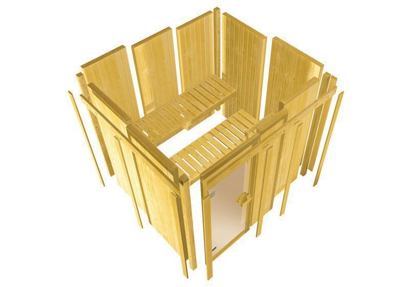 Karibu System Sauna Jarin (Eckeinstieg) 68 mm mit Dachkranz ohne Zubehör