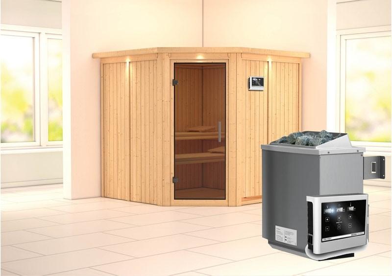 Karibu System Sauna Jarin easy (Eckeinstieg) 68 mm mit Dachkranz inkl. Ofen 9 kW ext. Steuerung