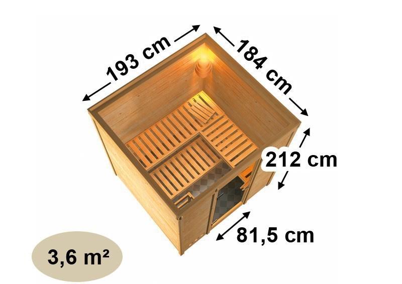 Karibu Massiv Sauna Mojave easy (Fronteinstieg) 40 mm mit Dachkranz inkl. Ofen 9 kW Bio-Kombi ext. Steuerung
