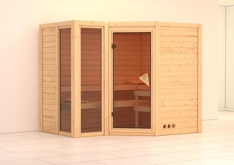 Karibu Massiv Sauna Amara (Eckeinstieg) 40 mm ohne Zubehör