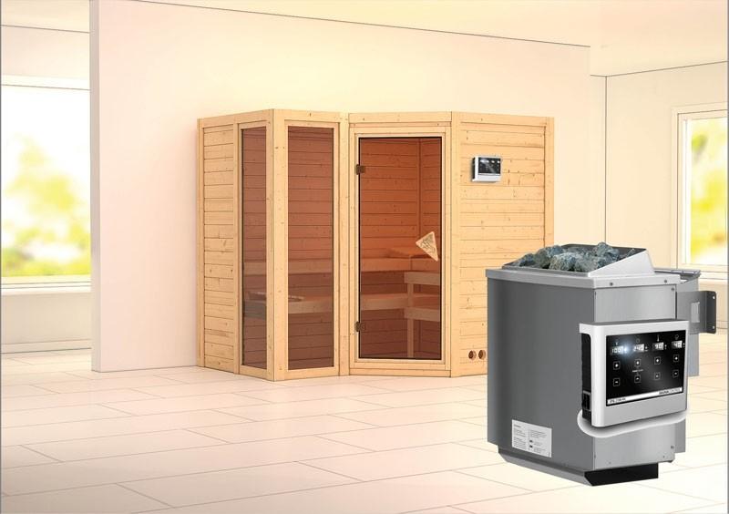 Karibu Massiv Sauna Amara (Eckeinstieg) 40 mm inkl. Ofen 9 kW Bio-Kombi ext. Steuerung