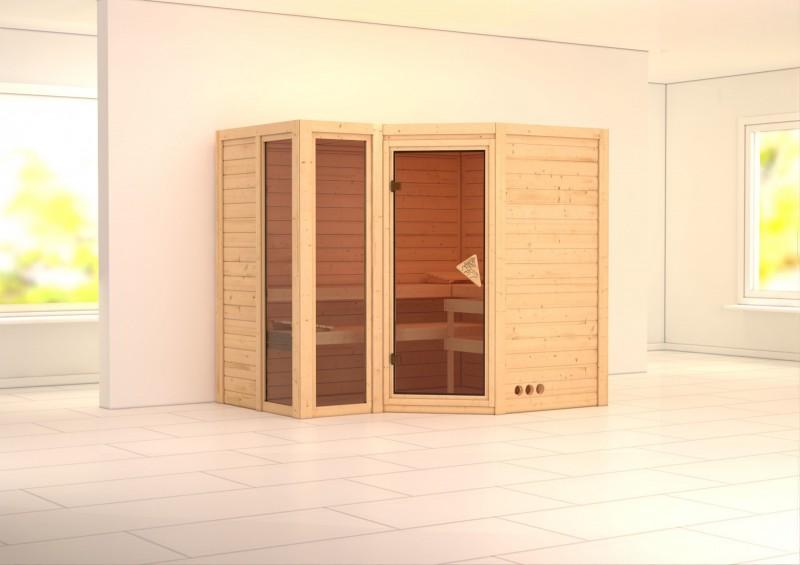 Karibu Massiv Sauna Amara (Eckeinstieg) 40 mm mit Dachkranz ohne Zubehör