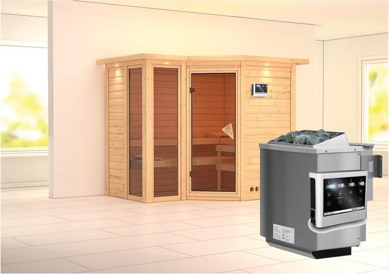 Karibu Massiv Sauna Amara (Eckeinstieg) 40 mm mit Dachkranz inkl. Ofen 9 kW Bio-Kombi ext. Steuerung