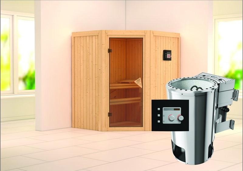 Karibu System Sauna 230 Volt Tonja (Eckeinstieg) 68 mm inkl. Ofen 3,6 kW Bio-Kombi ext. Steuerung