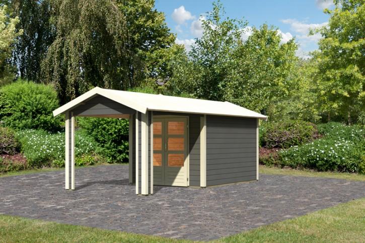 Woodfeeling Karibu Holz-Gartenhaus Tastrup 4 im Set mit 1 Dachausbauelement in terragrau