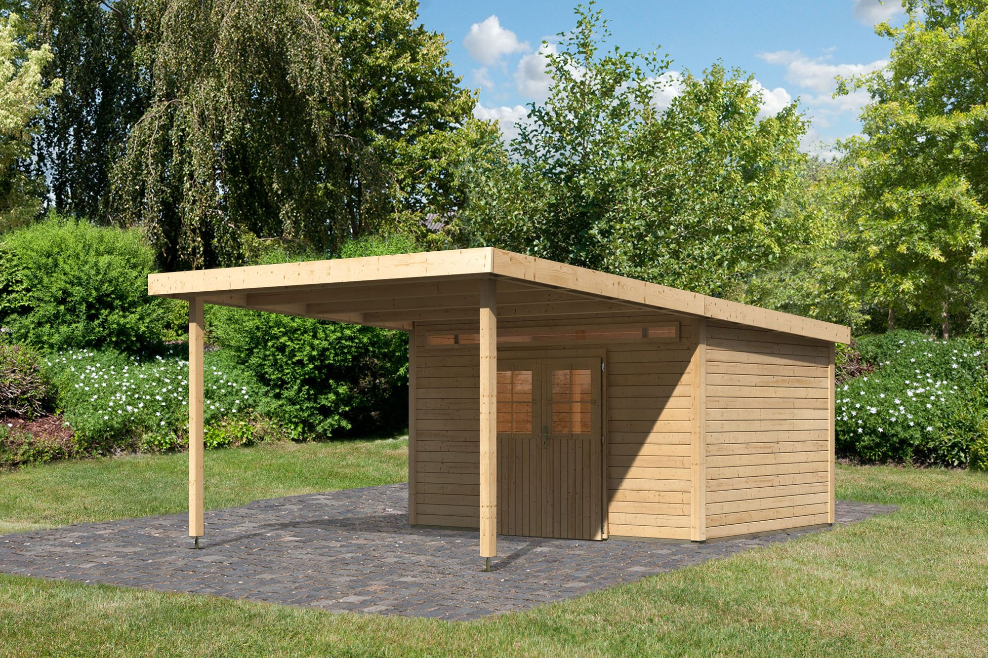 Karibu Holz Gartenhaus Meppen 6 Inkl Vordach 3 2 M Farbe Naturbelassen