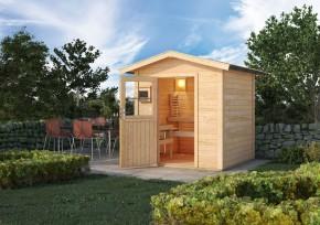 Karibu Gartensauna Lasse Satteldach - mit Energiespartür