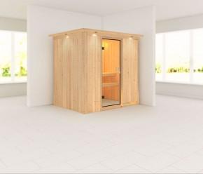 Karibu System Sauna 230 Volt Fanja (Fronteinstieg) 68 mm mit Dachkranz
