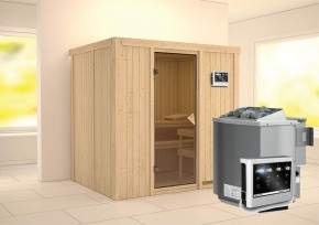Karibu System Sauna Bodin Classic (Fronteinstieg) 68 mm  inkl. Ofen 9 kW Bio-Kombi ext. Steuerung