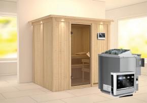Karibu System Sauna Bodin Classic (Fronteinstieg) 68 mm mit Dachkranz inkl. Ofen 9 kW Bio-Kombi ext. Steuerung