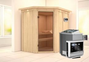 Karibu System Sauna Carin Classic (Eckeinstieg) 68 mm mit Dachkranz inkl. Ofen 9 KW ext. Steuerung