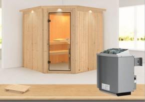 Karibu System Sauna Jarin Classic (Eckeinstieg) 68 mm mit Dachkranz inkl. Ofen 9 kW mit integr. Steuerung
