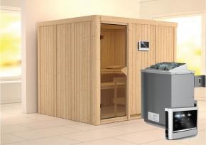 Karibu System Sauna Gobin Classic (Fronteinstieg) 68 mm inkl. Ofen 9 KW ext. Steuerung