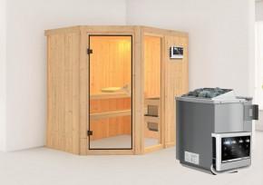 Karibu System Sauna Fiona 1 (Eckeinstieg) 68 mm  inkl. Ofen 9 kW Bio-Kombi ext. Steuerung