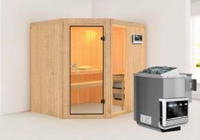 Karibu System Sauna Fiona 2 (Eckeinstieg) 68 mm  inkl. Ofen 9 kW Bio-Kombi ext. Steuerung