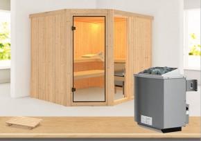 Karibu System Sauna Fiona 3 (Eckeinstieg) 68 mm inkl. Ofen 9 kW mit integr. Steuerung