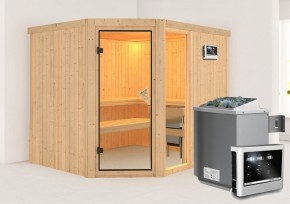 Karibu System Sauna Fiona 3 (Eckeinstieg) 68 mm inkl. Ofen 9 KW ext. Steuerung