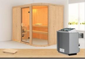 Karibu System Sauna Parima 4 (Fronteinstieg) 68 mm inkl. Ofen 9 kW mit integr. Steuerung
