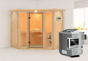 Karibu System Sauna Flora 1 Ganzglas (Fronteinstieg) 68 mm  mit Dachkranz inkl. Ofen 9 kW Bio-Kombi ext. Steuerung