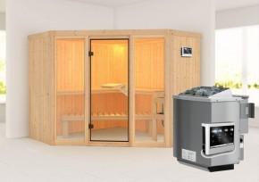 Karibu System Sauna Flora 2 Ganzglas (Fronteinstieg) 68 mm  inkl. Ofen 9 kW Bio-Kombi ext. Steuerung