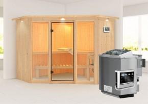 Karibu System Sauna Flora 2 Ganzglas (Fronteinstieg) 68 mm mit Dachkranz inkl. Ofen 9 kW Bio-Kombi ext. Steuerung