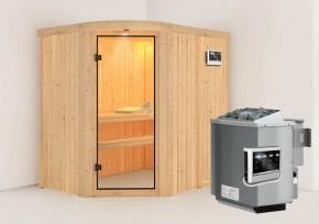 Karibu System Sauna Lavea (Rundeinstieg) 68 mm  inkl. Ofen 9 kW Bio-Kombi ext. Steuerung