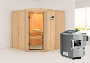 Karibu System Sauna Aukura (Rundeinstieg) 68 mm  inkl. Ofen 9 kW Bio-Kombi ext. Steuerung