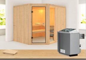 Karibu System Sauna Lakura (Rundeinstieg) 68 mm inkl. Ofen 9 kW mit integr. Steuerung