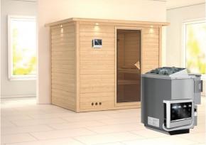 Karibu Massiv Sauna Sonara Classic (Fronteinstieg) 40 mm mit Dachkranz inkl. Ofen 9 kW Bio-Kombi ext. Steuerung
