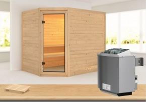 Karibu Massiv Sauna Tanami (Eckeinstieg) 40 mm inkl. Ofen 9 kW mit integr. Steuerung