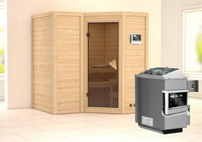 Karibu Massiv Sauna Sahib 1 Classic (Eckeinstieg) 40 mm inkl. Ofen 9 KW ext. Steuerung