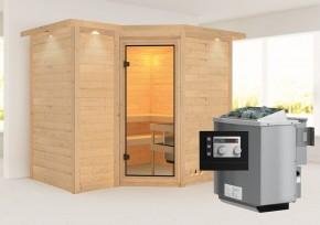 Karibu Massiv Sauna Sahib 2 Classic (Eckeinstieg) 40 mm mit Dachkranz inkl. Ofen 9 kW mit integr. Steuerung