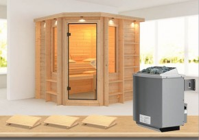 Karibu Massiv Sauna Cortona (Eckeinstieg) 40 mm mit Dachkranz inkl. Ofen 9 kW mit integr. Steuerung