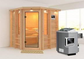 Karibu Massiv Sauna Cortona (Eckeinstieg) 40 mm mit Dachkranz inkl. Ofen 9 KW ext. Steuerung