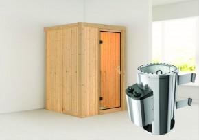 Karibu System Sauna 230 Volt Lenja (Fronteinstieg) 68 mm inkl. Ofen 3,6 kW integr. Steuerung