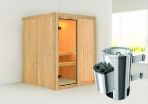 Karibu System Sauna 230 Volt Minja (Fronteinstieg) 68 mm inkl. Ofen 3,6 kW integr. Steuerung