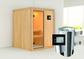 Karibu System Sauna 230 Volt Minja (Fronteinstieg) 68 mm inkl. Ofen 3,6 kW ext. Steuerung