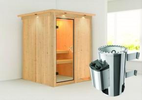 Karibu System Sauna 230 Volt Minja (Fronteinstieg) 68 mm mit Dachkranz inkl. Ofen 3,6 kW integr. Steuerung