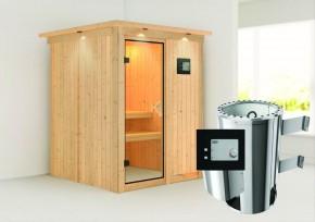 Karibu System Sauna 230 Volt Minja (Fronteinstieg) 68 mm mit Dachkranz inkl. Ofen 3,6 kW ext. Steuerung