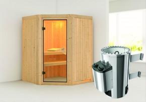 Karibu System Sauna 230 Volt Nanja (Eckeinstieg) 68 mm inkl. Ofen 3,6 kW integr. Steuerung