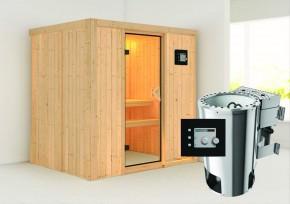 Karibu System Sauna 230 Volt Fanja (Fronteinstieg) 68 mm inkl. Ofen 3,6 kW Bio-Kombi ext. Steuerung