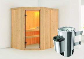 Karibu System Sauna 230 Volt Saja (Eckeinstieg) 68 mm inkl. Ofen 3,6 kW integr. Steuerung